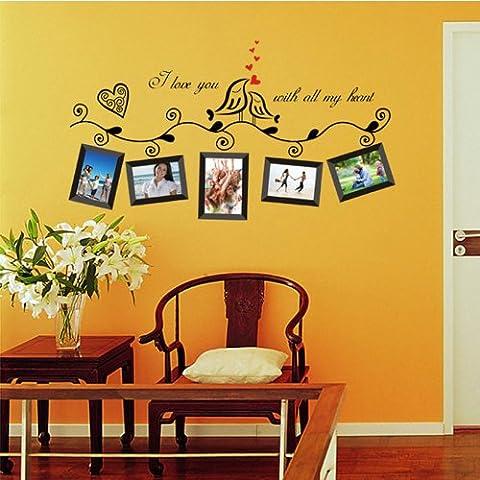 Marco de fotos volveríaa confiar diseño de pájaros decorativos para pared con diseño de Winnie DIY boda romántica de Vinilo extraíble adhesivo