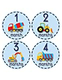 Months in Motion 810 Monthly Baby Stickers Construction Trucks Baby Boy Month 1-12 Milestone Age Sticker Photo Prop