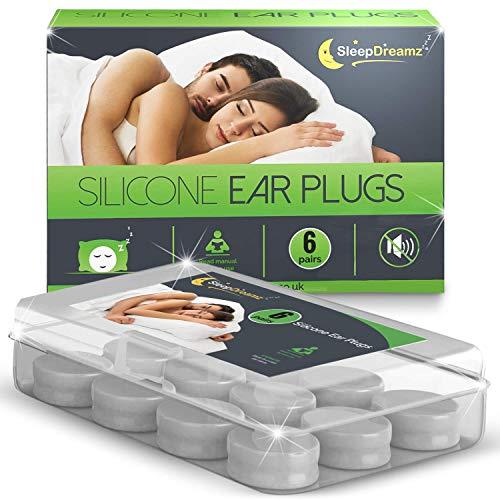 Tapones para los oídos de silicona SleepDreamz (6 pares) - ¡BLOQUEE YA EL RUIDO NO DESEADO! - Tapones para los oídos diseñados para proteger contra ruidos de alto decibelios - Tapones para los oídos para dormir, que evitan el ruido de los ronquidos y otros sonidos fuertes, para que pueda dormir mejor.
