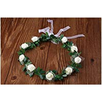 FOUGNOGKISSS Rose Crown tocado guirnalda de la boda del tocado nupcial Garland Headband