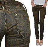 Jeans Schlangenoptik Lederoptik Denim Braun Hüfthose Hose Gr.XS S M L XL #173 (XS)