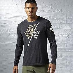 Reebok SFM LS Brand T - T-Shirt for Men, Color Black, Size XS