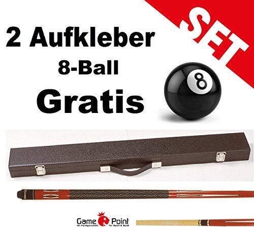 Top-Angebot!!! Billardqueue Tycoon, TC-1 rot, Länge ca. 147 cm, 2-tlg. mit Koffer Standard 1/2 schwarz + 2 Aufkleber 8-Ball Gratis