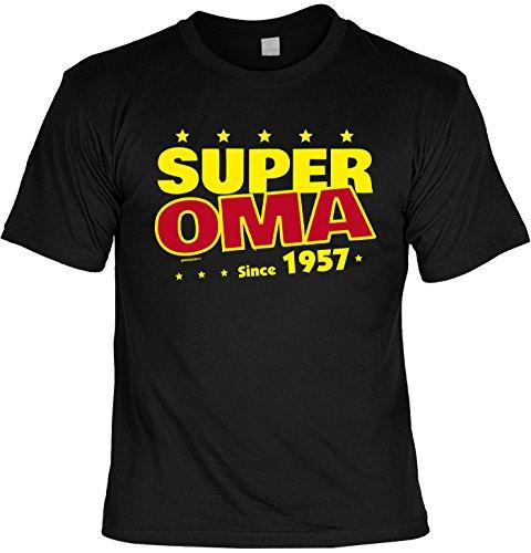 T-Shirt zum 60. Geburtstag Super Oma Since 1957 Geschenk zum 60 Geburtstag 60 Jahre Geburtstagsgeschenk 60-jähriger Schwarz