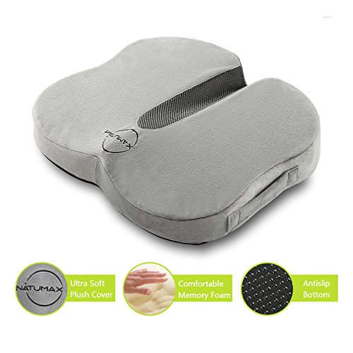 NATUMAX  Coccyx Seat Cushion, Chair Cushion with Non-slip Removable Cover for Back Pain Tailbone and Sciatica Pain Relief for Home, Office and Car