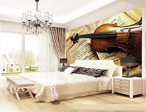Eufjsdhf Fototapete Stereo Retro Großes Wohnzimmer Kabarett Sofa Hintergrund Hotel Violine 3D Tapete Foto-300cmX210cm - 4215 Tinte