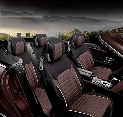 XCJ Autositzbezüge, Pu Classic Ledersitzbezüge 5 Sitze Full Set vorne hinten Auto Kissen,Braun