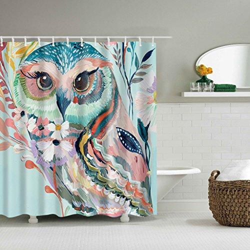 GUBENM Duschvorhang, Custom Aquarell Eule Dekor wasserdicht Stoff Duschvorhang Home Badezimmer Haken Dusche Vorhang-stab-hardware