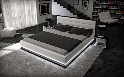 Wasserbett 180 x 200 cm MOONLIGHT weiß mit Beleuchtung und Dual-Wasserkern