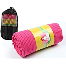 Winthome Antideslizante Yoga Mat Toalla de Yoga con Bolsa de Transporte Gratuita (Rosa)