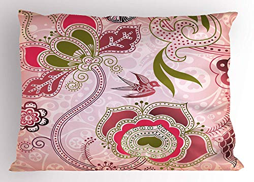 Ejjheadband Ethnic Pillow Sham, Ethnic Asian Floral with Scroll Swirl Leaf Lines Boho Artwork, Decorative Standard Queen Size Printed Pillowcase, 30 X 20 inches, Olive Green Pale Pink Dried Rose Cathay Rose