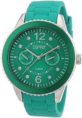 Esprit A.ES105332007 - Reloj analógico de cuarzo para mujer con correa de silicona, color verde