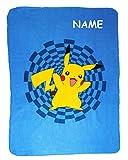 Fleecedecke - ' Pokémon Pikachu ' - incl. Name - 110 cm * 140 cm - Decke aus Fleece Kuscheldecke / für Jungen & Mädchen - Pokemon Figur - Kinder Plaid Kinderdecke - Schmusedecke - blau / Autodecke Sofadecke