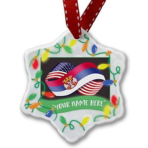 Neuheit Weihnachtsschmuck Personalisierte Namen Weihnachten Ornament Freundschaft Flaggen USA und Serbische Ornament Craft Crafts Xmas Tree zum Aufhängen