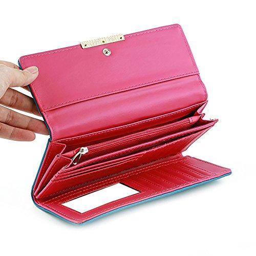 Borsa da portafoglio lunga in pelle a tre ante con organizzatore multi carta da donna di Ya Jin caffè