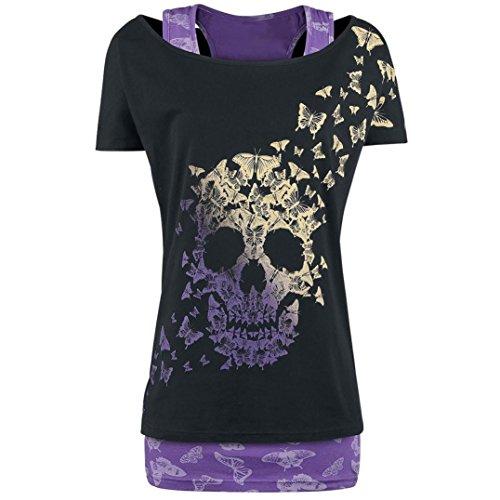 Ularma ❀..❀ Damen Ohals Schädel Kopf Schmetterling Gedruckt Tshirt aus Baumwolle Top (L, Schwarz)