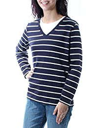 0c6c4cb061f Karen Scott Womens Navy Striped Long Sleeve Jewel Neck Hi-Lo Top Size  M