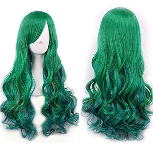 kashyk Damenperücke, langes Haar + irisierende Lockenperücke, Maskerade synthetische Perücke Cosplay Perücke Ostern Perücke