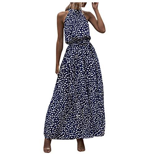 Fenverk Kleid Damen Blumendruck Sommerkleid Ärmellos Lang Elegant Strandkleid Rückenfrei Maxi Kleider mit Gürtel(Dunkelblau,L)