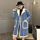 SHKAC Mantel Coloring Mantel Frau Herbst Winter Kragen Langer Mantel Losen Mantel. Blau Uniform Code -