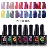Coscelia 20 Farben UV Gel Nagellack UV Lacken Farbgele Gel Polish Kit Nagelgele Gellacken Set