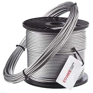 80m Câble en acier 3mm 1x7 câble en acier galvanisé Câble levage acier galvanise