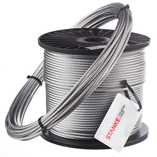 Seilwerk STANKE 100m 2mm Drahtseil 6x7 verzinkt Stahlseil Forstseil DIN Windenseil Seil Draht Stahl