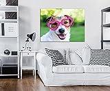 DekoShop Leinwandbild Wandbild Kunstdruck Hund mit Rosa Brille AMDPP10432O1 O1 (100cm. x 75cm.) Canvas Wandbilder XXL Überraschungsaufkleber Gratis!