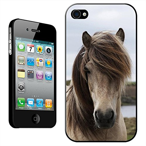 Fancy a snuggle Coque arrière rigide clipsable pour Apple iPhone Motif tête de cheval, plastique, Dirty White Horse, iPhone 4/4s