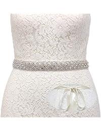 40286ac45cf SWEETV Strass Hochzeit gürtel Kristall Braut gürtel Schärpe für  Brautjungfernkleider Ballkleid Abendkleider