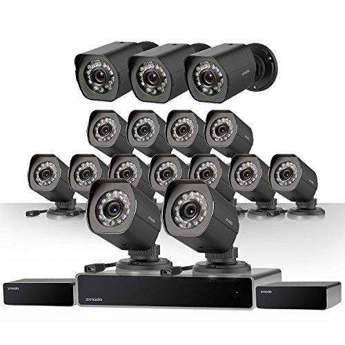 Zmodo 32 Kanal NVR Sicherheitssystem 16* HD IP Überwachungskamera mit sPoE-Repeater, 2TB HDD