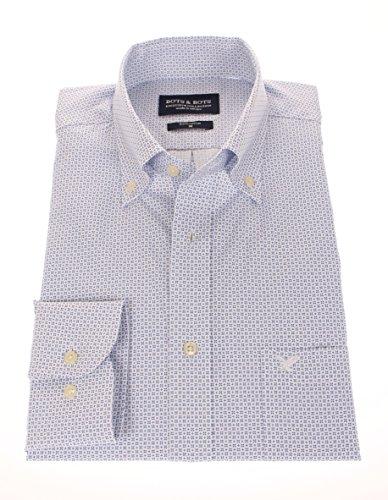 178680 - Bots & Bots Shirt - Cotton - Micro Print - Button Down - Normal Fit Blau / Weiß