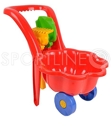Gartengeräte für Kinder Schubkarre Garten Kinder Spielzeug Sandspielzeug Sandkasten + Schaufel + Rechen (Rot)