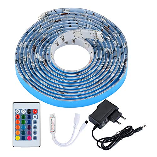 Preisvergleich Produktbild PryEU LED Stripes Streifen Band 2M 12V Leiste Licht RGB Farbwechsel Wasserdicht 5050 SMD inklusive IR Fernbedienung und EU Netzteil für Wohnzimmer Schrank TV Bett