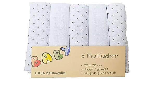 5er Pack Mullwindeln Sterne grau Spucktuch T/ücher Baby Tuch Windeln