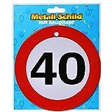 1 METALL SCHILD RUND ZAHL 40, RUND d: 14,5cm   40. Geburtstag