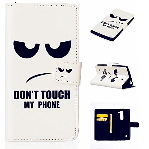 TKSHOP Accessories Case Cover per LG Magna H502F H500F C90 H520N Custodia PU pelle Funzione di Sostegno Stand con la Copertura del Raccoglitore per la Carte Chiusura Magnetica+ Penne Capacitive Stylus penna Nero per dispositivi touchscreen - Occhi neri arrabbiati Don't touch my phone