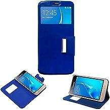 Donkeyphone 599371031 - flip cover azul para samsung galaxy j1 2016 j120f funda con ventana, tapa, apertura libro, cierre con iman y soporte
