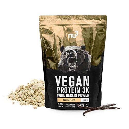 nu3 Vegan Protein 3K Shake - 1 Kg Vanilla Blend - veganes Eiweisspulver aus 3-Komponenten-Protein mit 71% Eiweiss - Pulver zum Muskelaufbau mit Vanille Geschmack - Laktosefrei und zuckerfrei