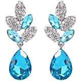 EVER FAITH® Silver-Tone Leaf Teardrop blu cristallo austriaco Trafitto N03198-2