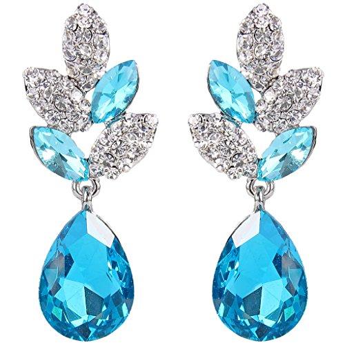EVER FAITH Silber-Ton Blatt Tropfen blau österreichischen Kristall Pierced Ohrringe N03198-2