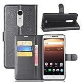 Coque pour Alcatel A3 XL, Frlife | Housse en Cuir PU pour Alcatel A3 XL Coque avec Étui en Silicone, Protection Complète pour Votre Téléphone Portable (6.0 Pouces) Noir
