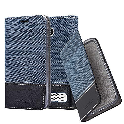 Cadorabo Hülle für Sony Xperia E1 - Hülle in DUNKEL BLAU SCHWARZ – Handyhülle mit Standfunktion und Kartenfach im Stoff Design - Case Cover Schutzhülle Etui Tasche Book