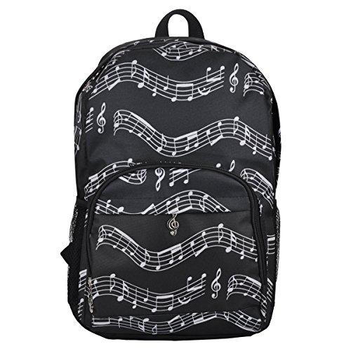 Punk Oxford Mochila con diseño de notas musicales, para la escuela, Niños y Niñas, Elegante, Arte (4Colores), Musical notes patterns black