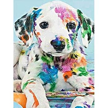 Id/ée cadeau /À faire soi-m/ême D/écoration murale pour maison Strass ronds /à broder Chien color/é Kit pour peinture diamant MXJSUA 30,5/x/30,5/cm