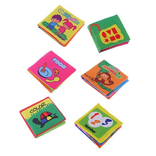 MagiDeal 6er / Set Baby Stoffbuch - Tuch Buch Mit Ton - Graphen Formen Farben Zahlen Tier Essen und Englisch Lernen, Kinder Intelligenz Entwicklung Lernspielzeug - 11 x 10 cm