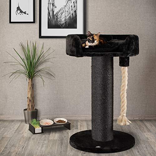 CanadianCat Company ®   Kratzbaum - Lounge Ontario XXL schwarz mit 20cmØ Sisalstamm, ideal auch für große und schwere Katzen wie z.B. Maincoon