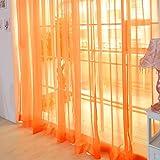 Be&xn Velato Velo Tenda Pannelli, 1 Coppia Semi Trasparenti Le Tende per Bambini in Camera roomliving Cucina -Arancione W100xH270cm(39x106inch)