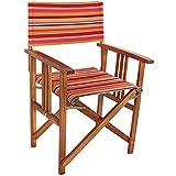 COM-FOUR® Edler Regiestuhl aus Akazienholz mit schönem Bezug, Gartenstuhl, ideal für Ihren Außenbereich