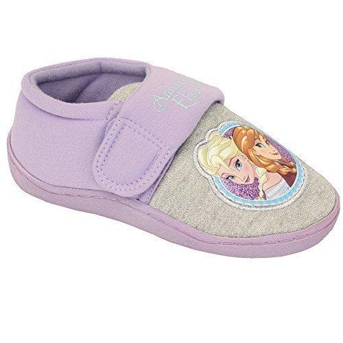 Niñas Infantil Disney Frozen Anna Elsa Peppa Pig Pantuflas CIERRE ADHESIVO Zapatos - LILA - fparadise, 10 UK Child
